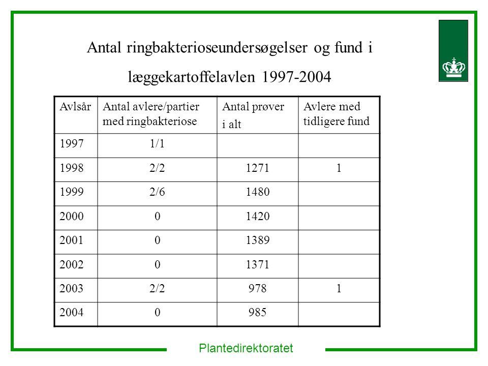 Antal ringbakterioseundersøgelser og fund i