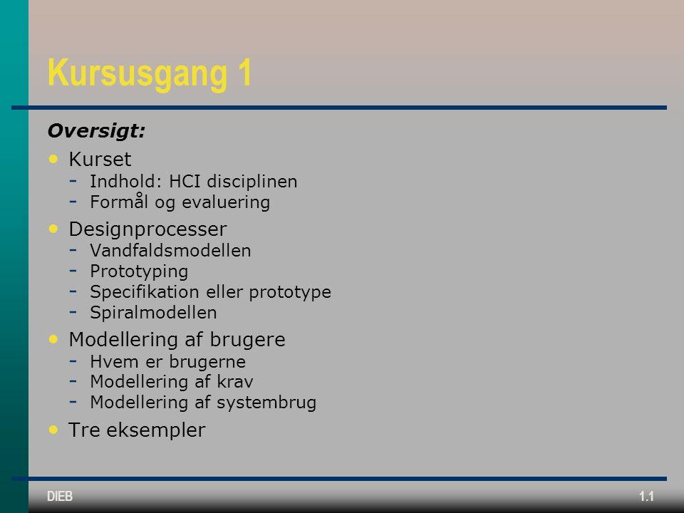 Kursusgang 1 Oversigt: Kurset Designprocesser Modellering af brugere