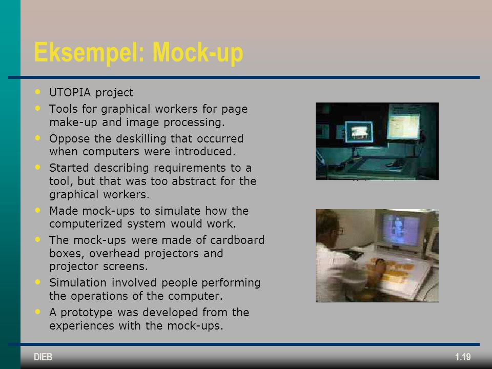 Eksempel: Mock-up UTOPIA project