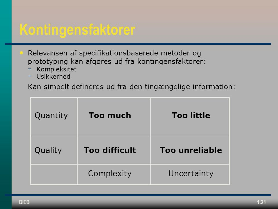 Kontingensfaktorer Quantity Too much Too little