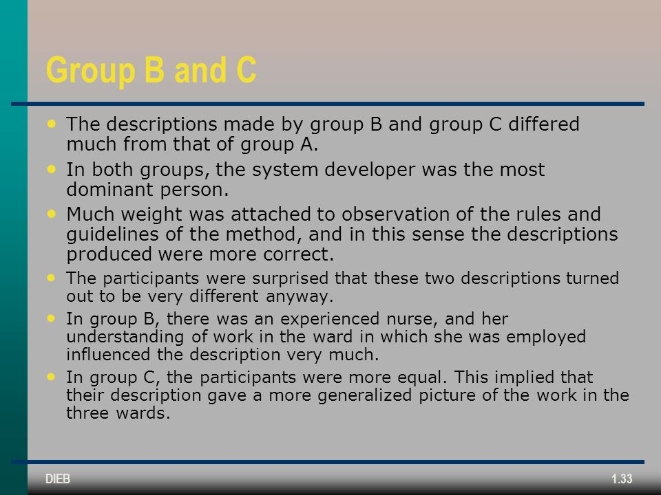 Group B and C The descriptions made by group B and group C differed much from that of group A.