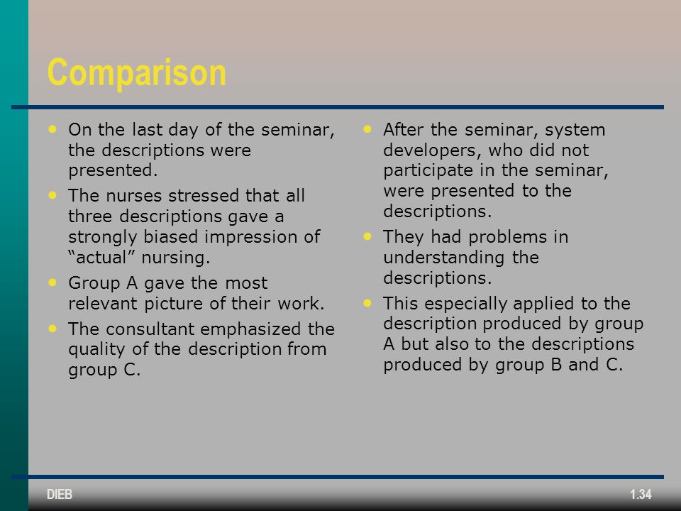 Comparison On the last day of the seminar, the descriptions were presented.