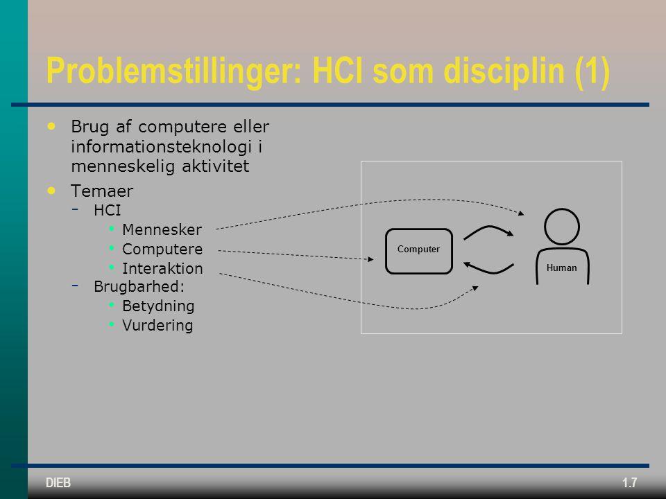 Problemstillinger: HCI som disciplin (1)