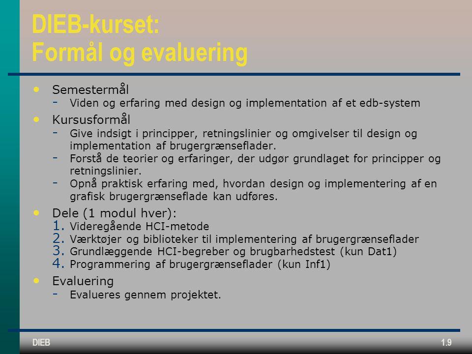DIEB-kurset: Formål og evaluering