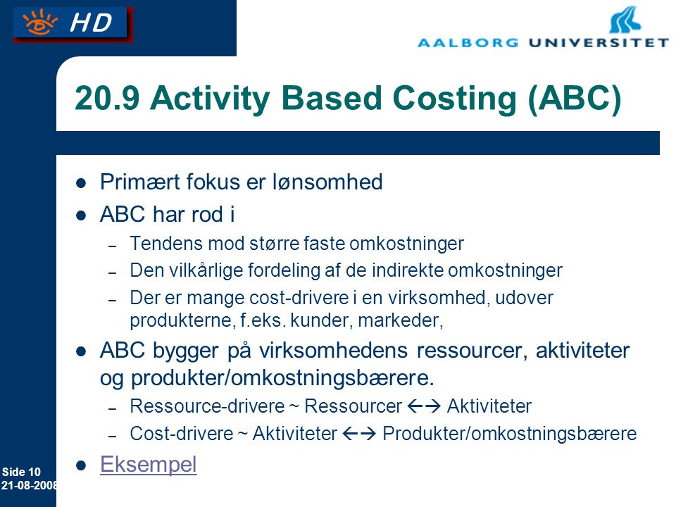 20.9 Activity Based Costing (ABC)