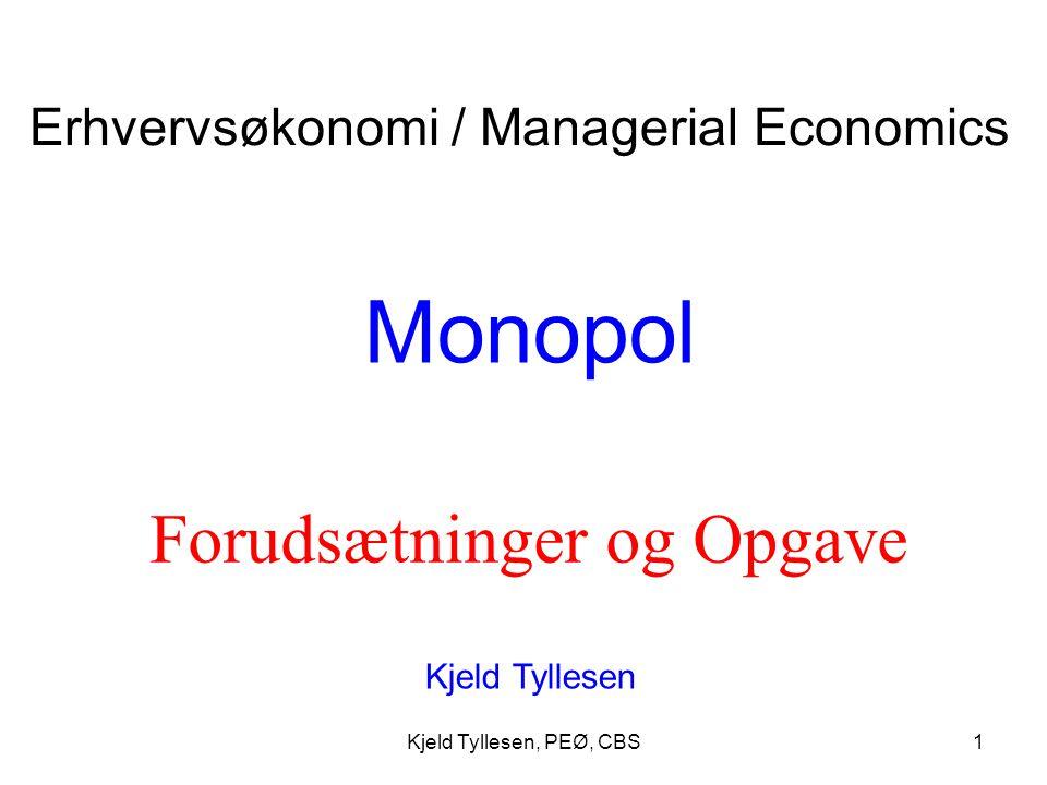 Monopol Forudsætninger og Opgave