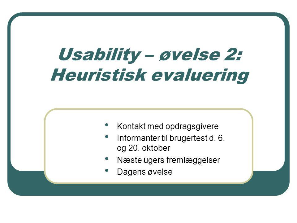 Usability – øvelse 2: Heuristisk evaluering