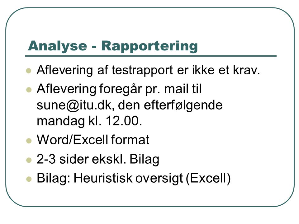 Analyse - Rapportering