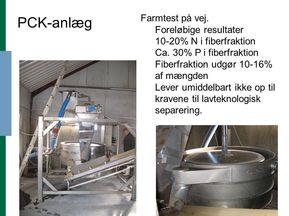 PCK-anlæg Farmtest på vej. Foreløbige resultater