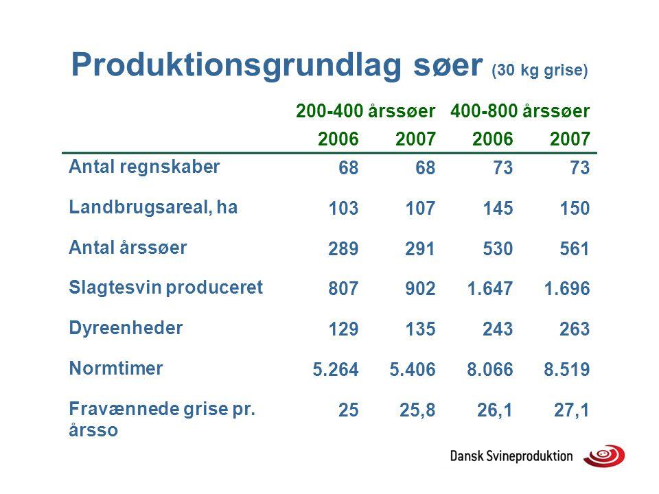 Produktionsgrundlag søer (30 kg grise)