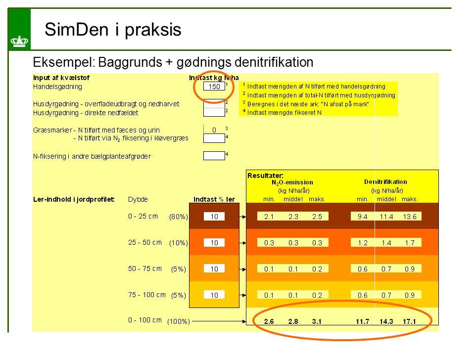 SimDen i praksis Eksempel: Baggrunds + gødnings denitrifikation