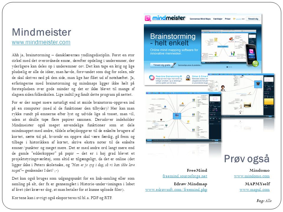 Mindmeister www.mindmeister.com