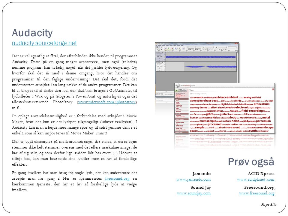 Audacity audacity.sourceforge.net