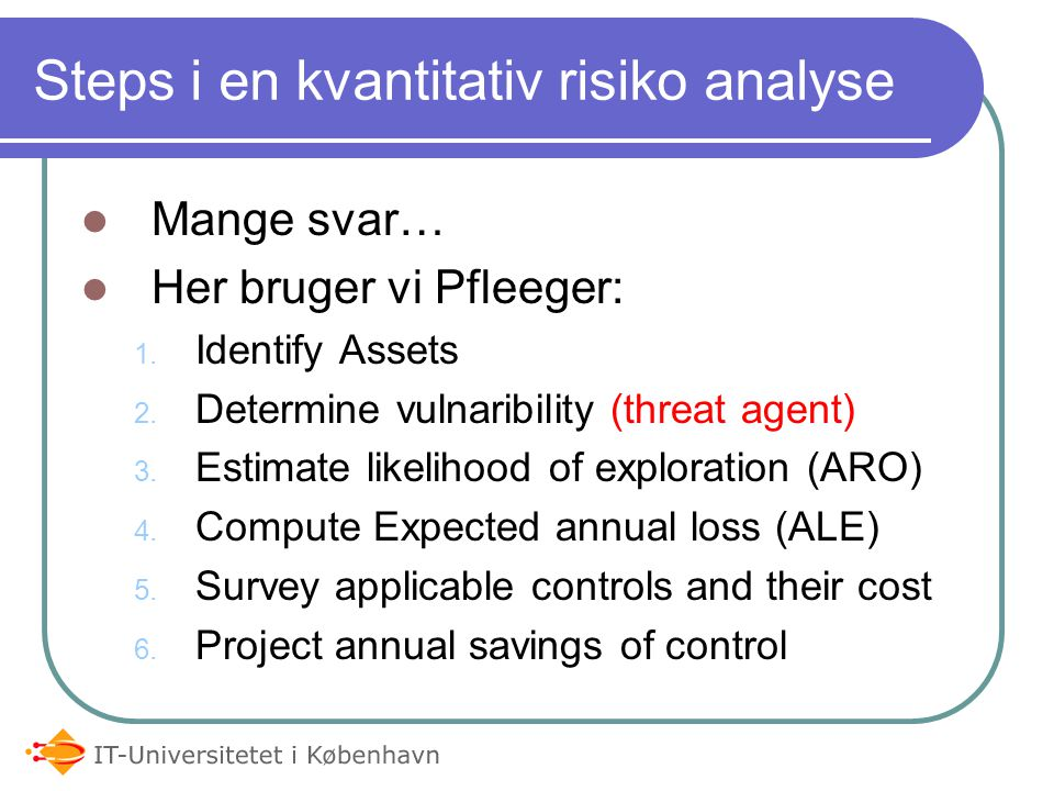 Steps i en kvantitativ risiko analyse
