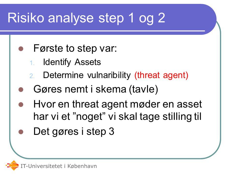 Risiko analyse step 1 og 2 Første to step var: