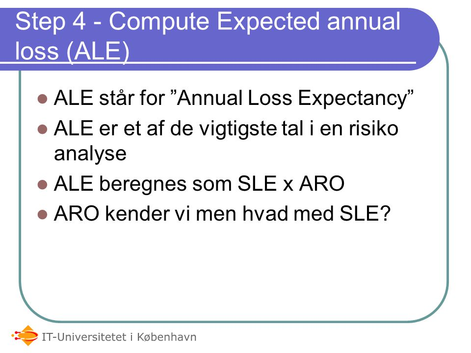 Step 4 - Compute Expected annual loss (ALE)