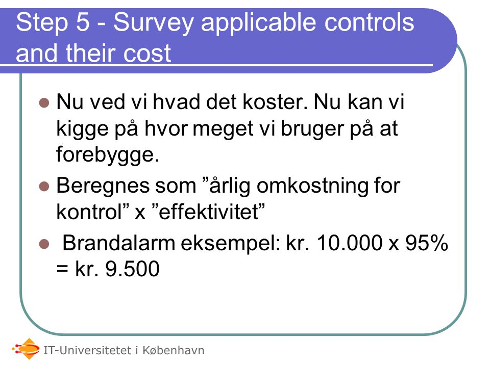 Step 5 - Survey applicable controls and their cost