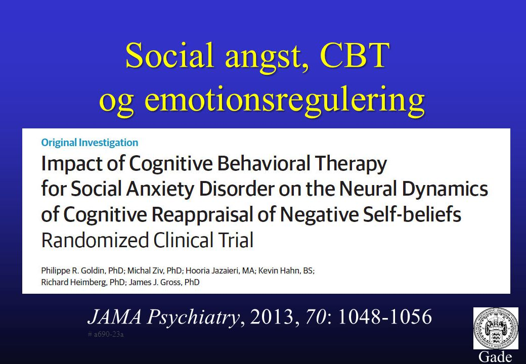 Social angst, CBT og emotionsregulering