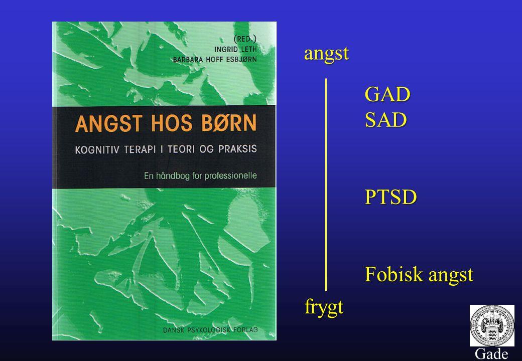 angst GAD SAD PTSD Fobisk angst frygt Gade