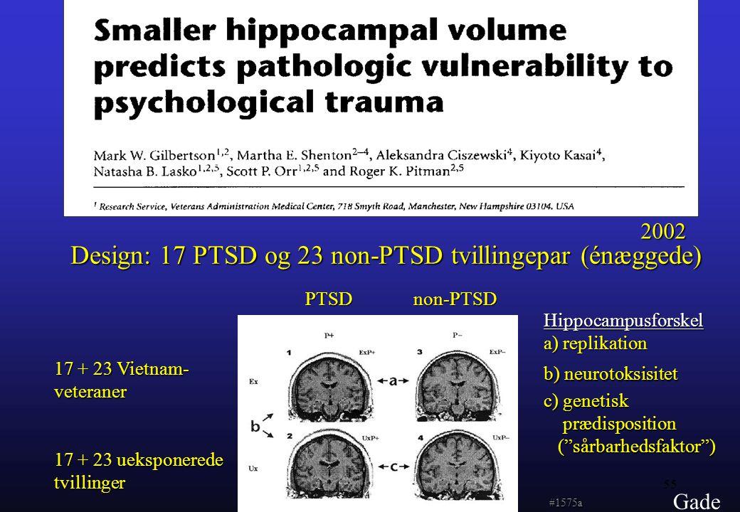 Design: 17 PTSD og 23 non-PTSD tvillingepar (énæggede)