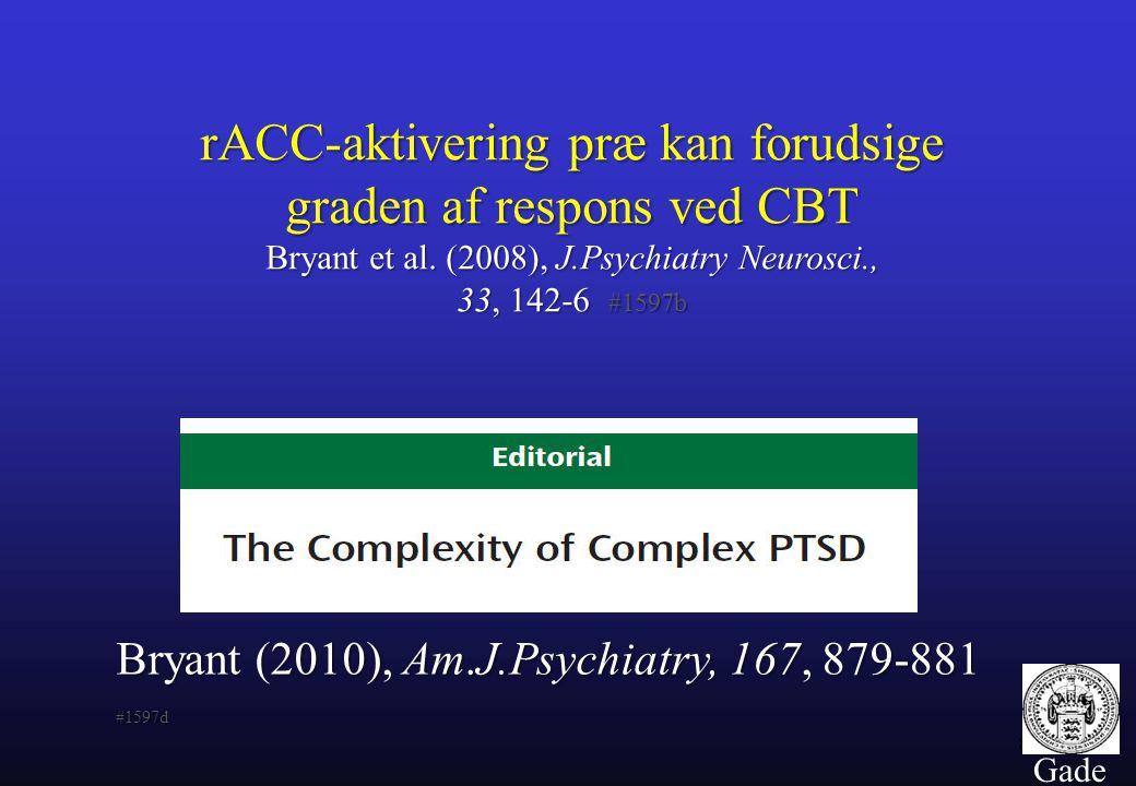 rACC-aktivering præ kan forudsige graden af respons ved CBT Bryant et al. (2008), J.Psychiatry Neurosci., 33, 142-6 #1597b