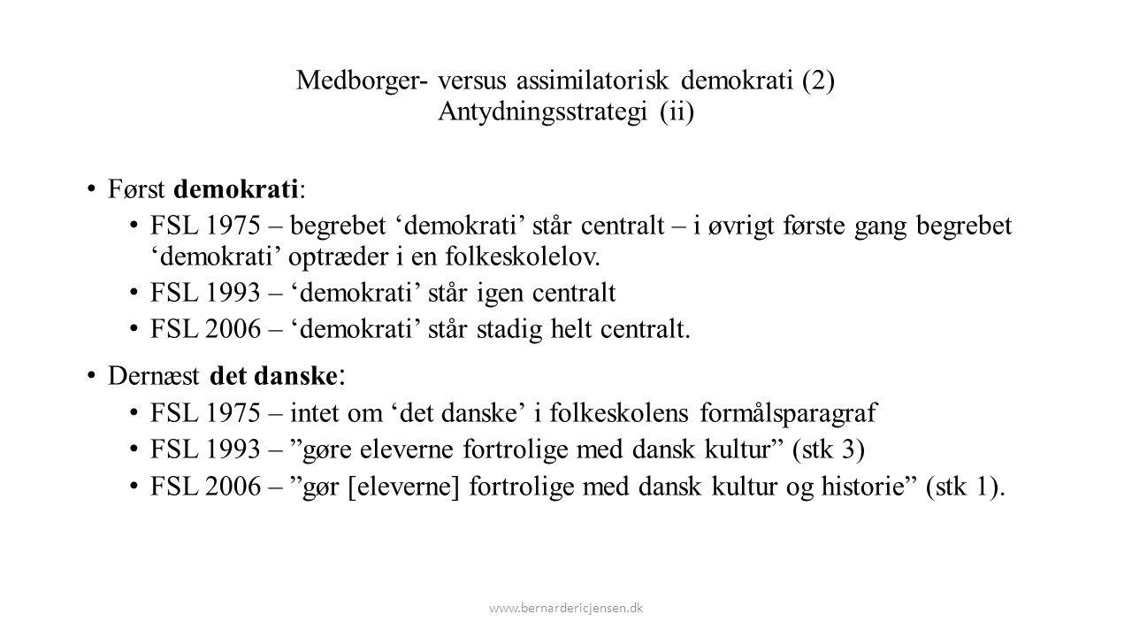 Medborger- versus assimilatorisk demokrati (2) Antydningsstrategi (ii)