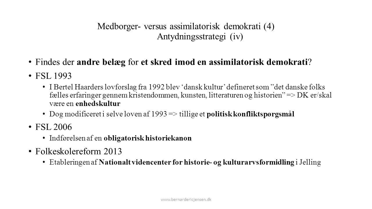 Medborger- versus assimilatorisk demokrati (4) Antydningsstrategi (iv)