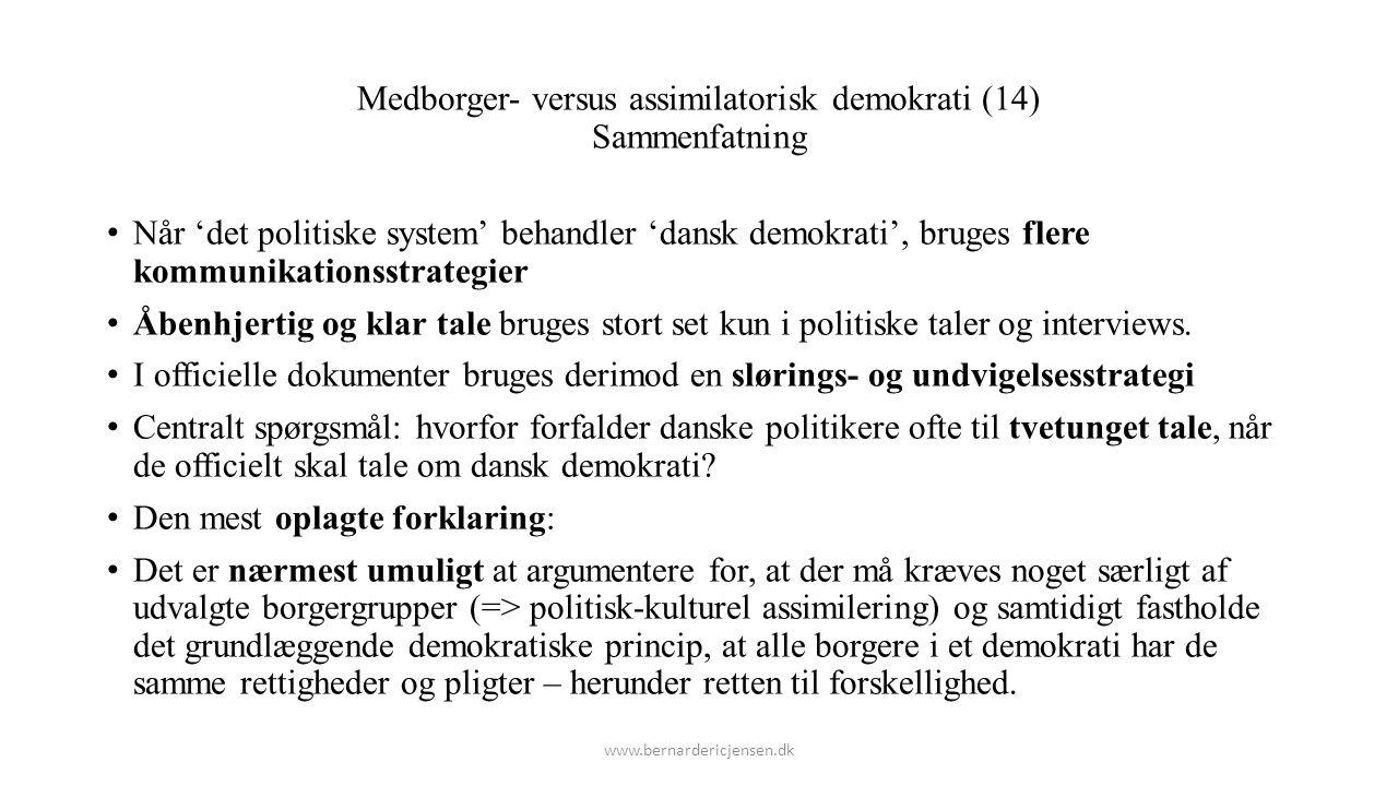 Medborger- versus assimilatorisk demokrati (14) Sammenfatning