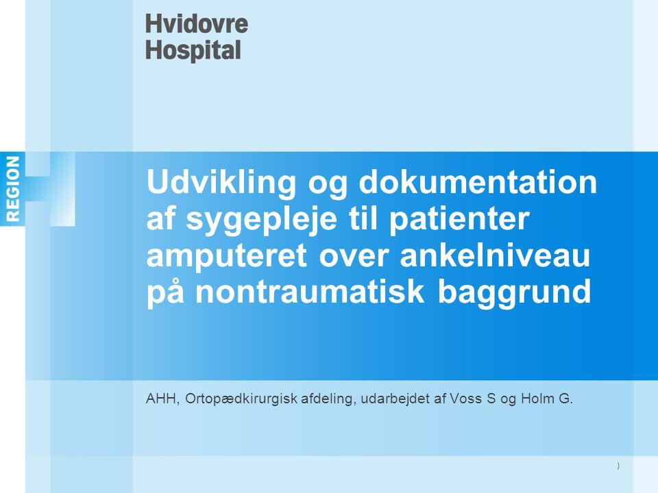 AHH, Ortopædkirurgisk afdeling, udarbejdet af Voss S og Holm G.