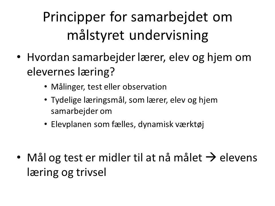 Principper for samarbejdet om målstyret undervisning