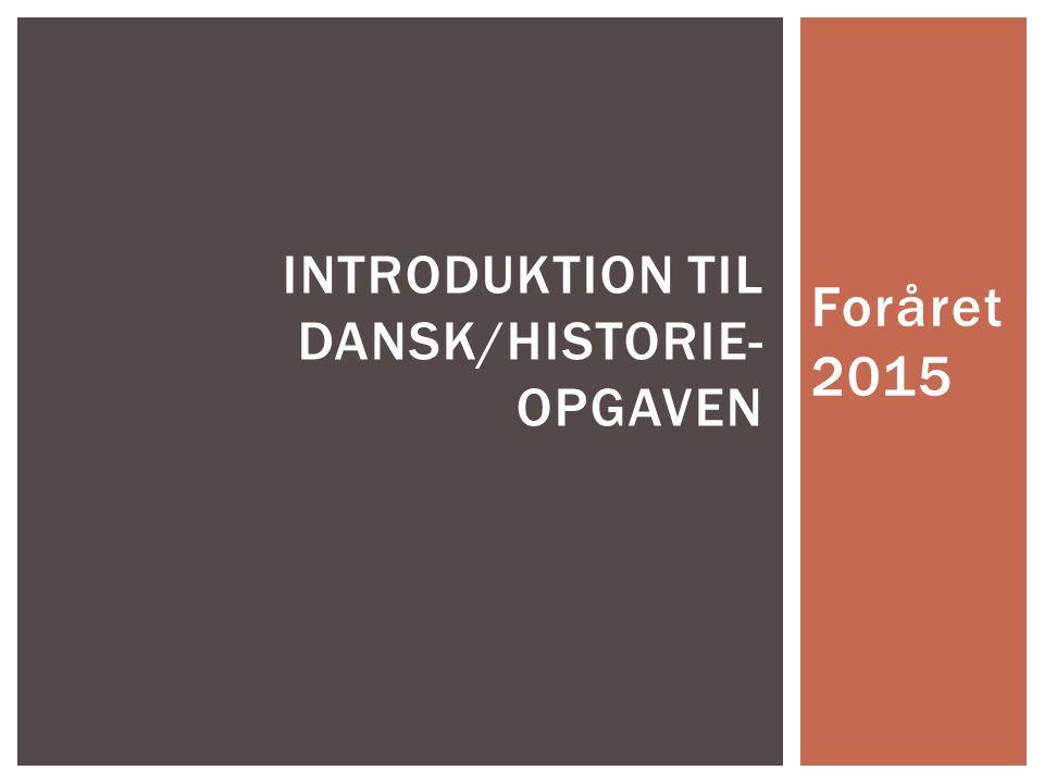 Introduktion til dansk/historie-opgaven