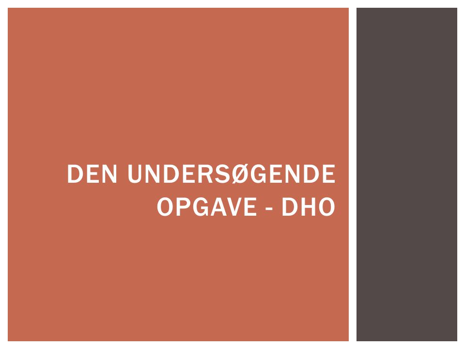 Den undersøgende opgave - DHO