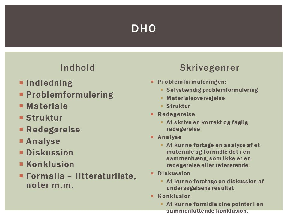 DHO Indhold Skrivegenrer Indledning Problemformulering Materiale