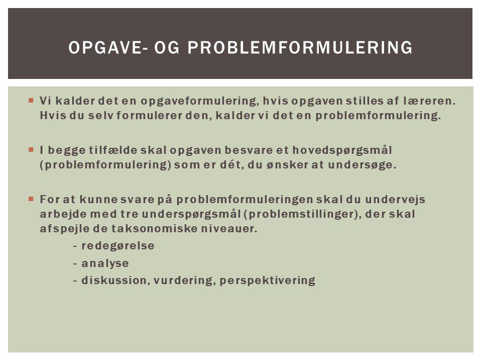 Opgave- og problemformulering