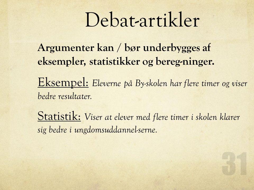 Debat-artikler Argumenter kan / bør underbygges af eksempler, statistikker og bereg-ninger.