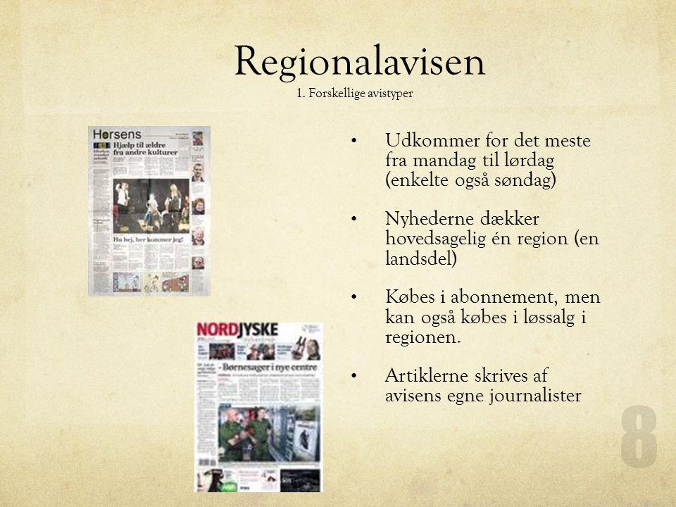 Regionalavisen 1. Forskellige avistyper. Udkommer for det meste fra mandag til lørdag (enkelte også søndag)