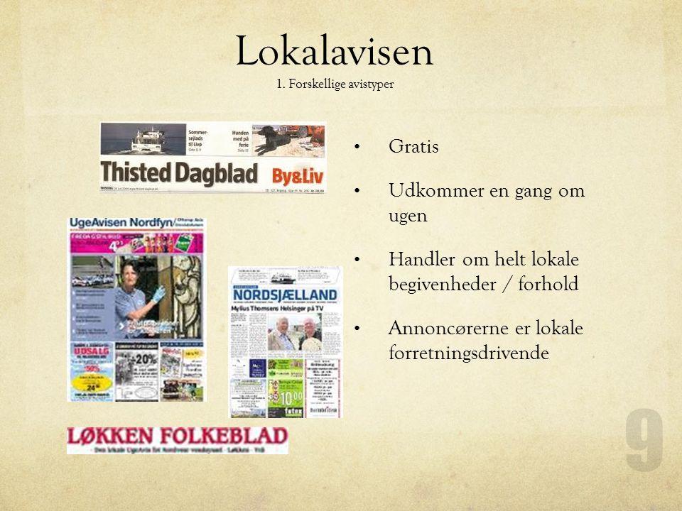 Lokalavisen 1. Forskellige avistyper