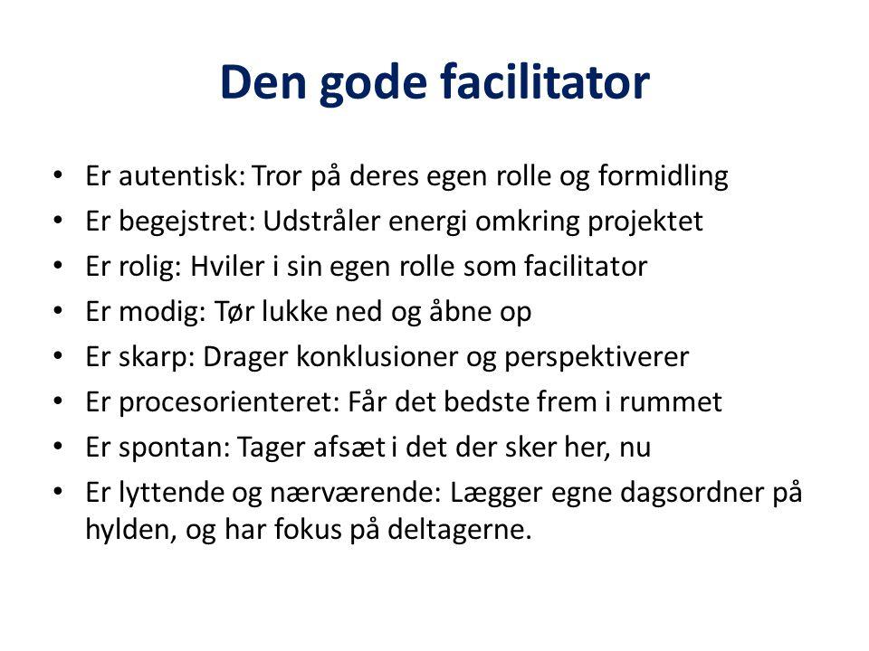 Den gode facilitator Er autentisk: Tror på deres egen rolle og formidling. Er begejstret: Udstråler energi omkring projektet.
