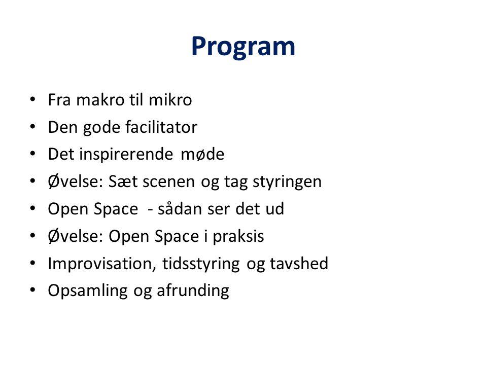 Program Fra makro til mikro Den gode facilitator Det inspirerende møde