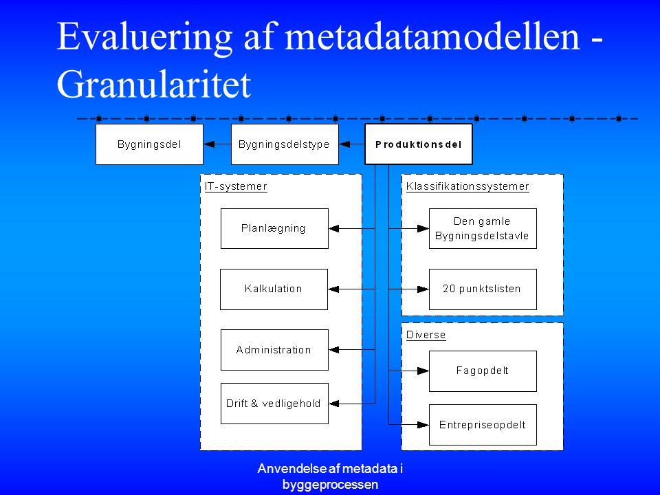 Evaluering af metadatamodellen - Granularitet