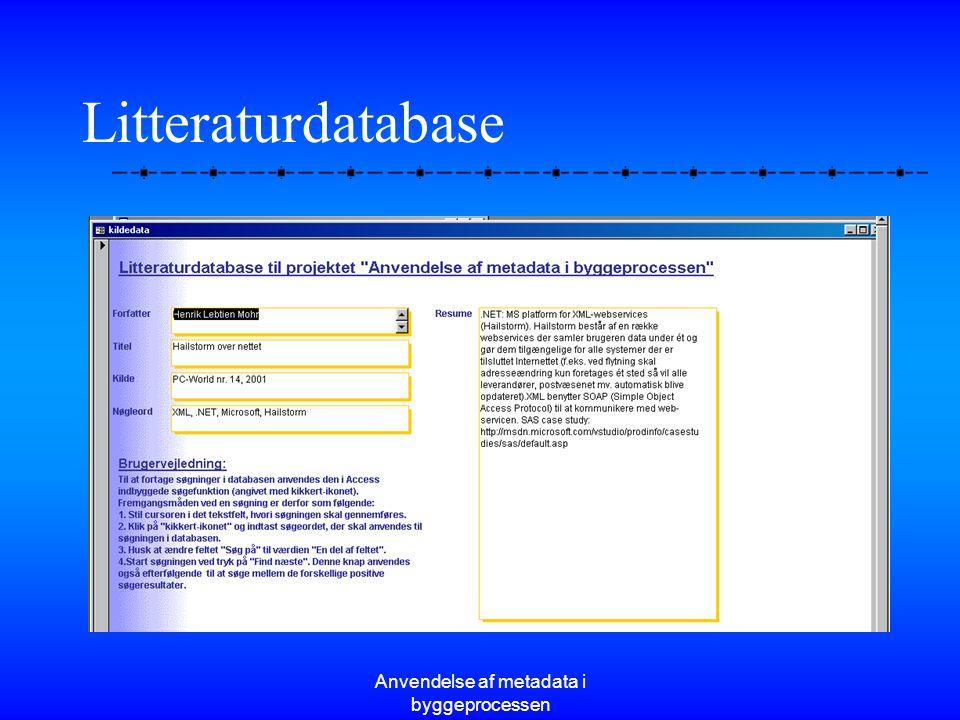 Anvendelse af metadata i byggeprocessen