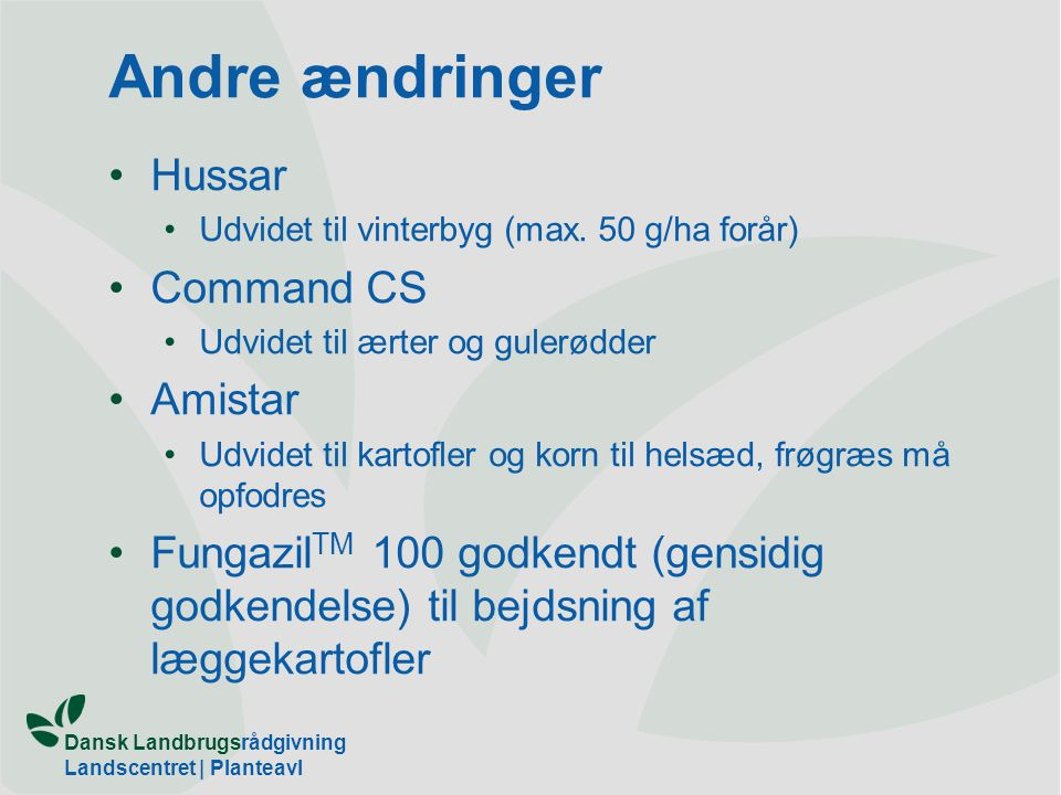 Andre ændringer Hussar Command CS Amistar