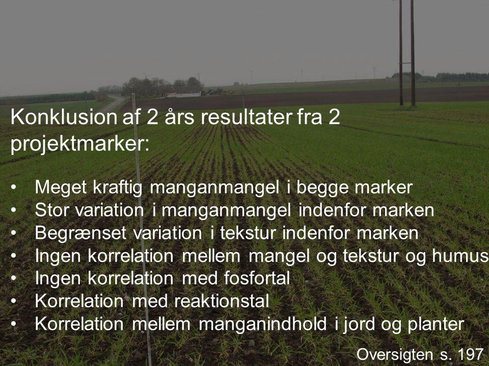 Konklusion af 2 års resultater fra 2 projektmarker: