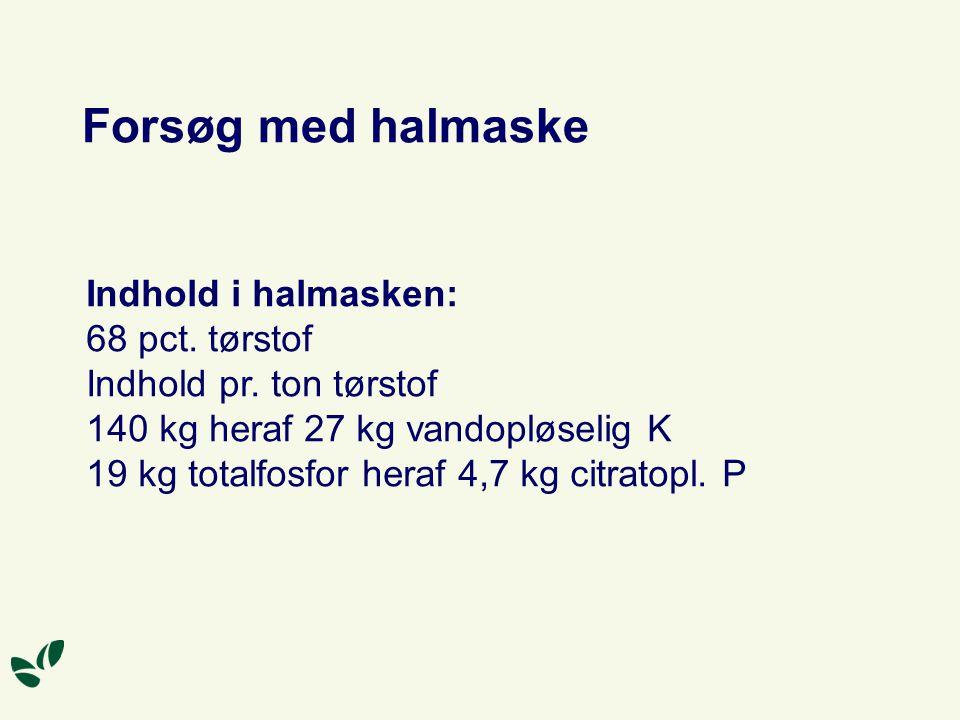 Forsøg med halmaske Indhold i halmasken: 68 pct. tørstof