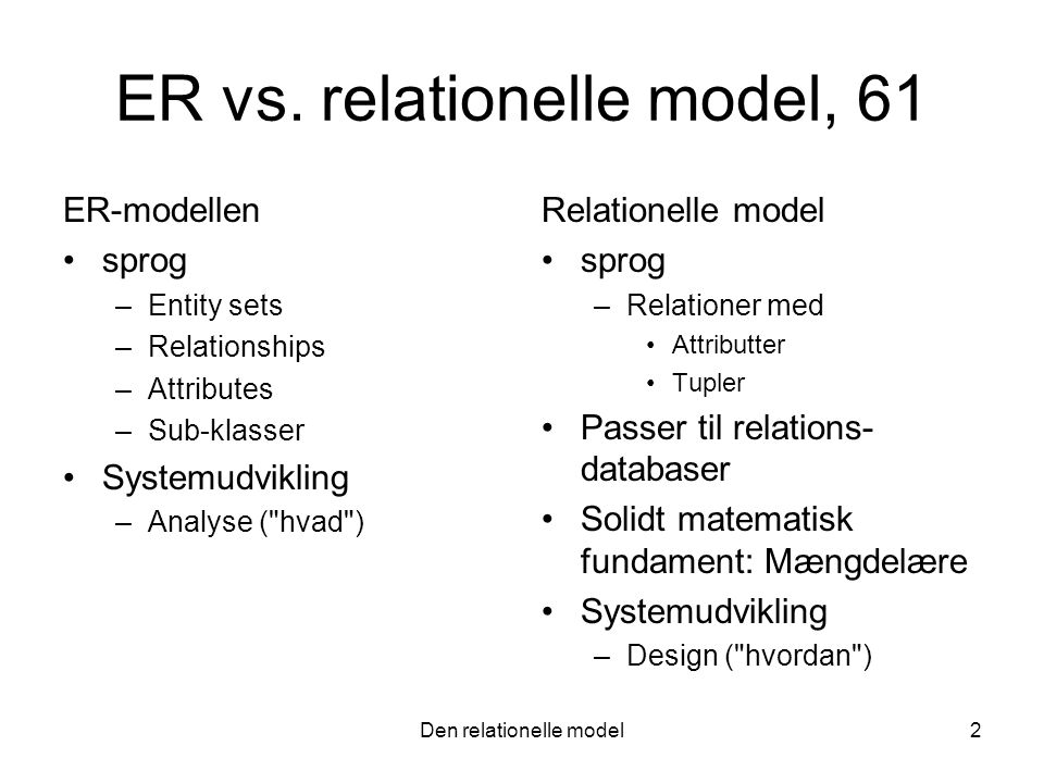 ER vs. relationelle model, 61