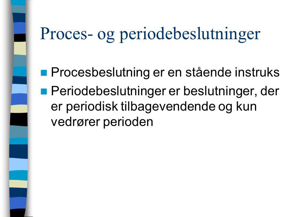 Proces- og periodebeslutninger