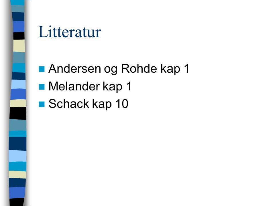 Litteratur Andersen og Rohde kap 1 Melander kap 1 Schack kap 10
