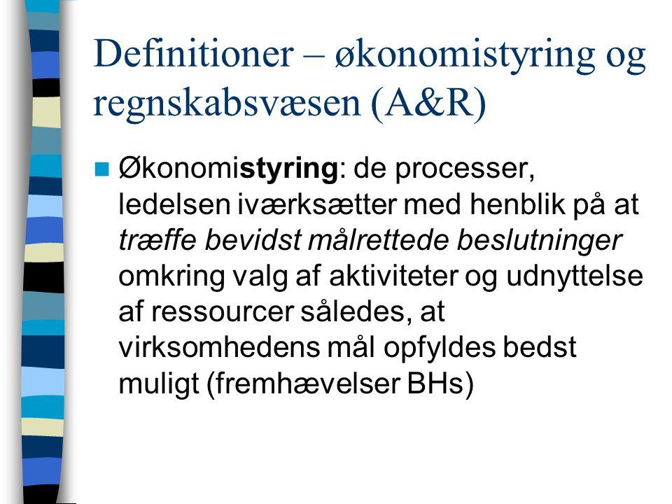 Definitioner – økonomistyring og regnskabsvæsen (A&R)