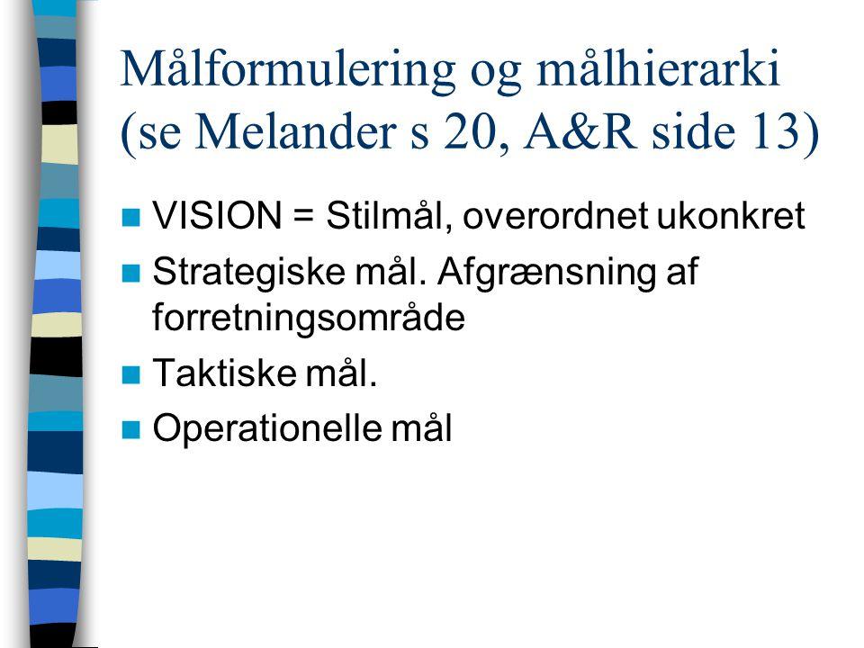 Målformulering og målhierarki (se Melander s 20, A&R side 13)