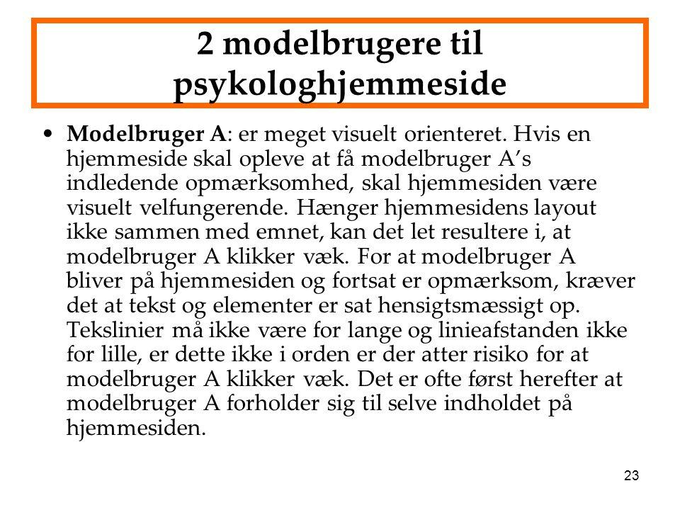 2 modelbrugere til psykologhjemmeside